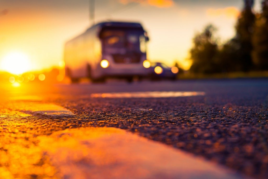 Bus on a sunset