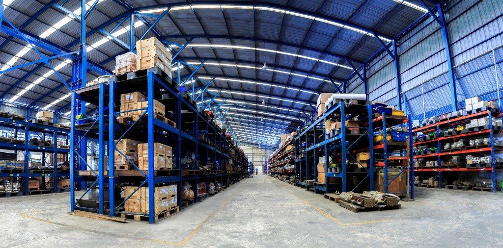 warehouse storage in blue shade