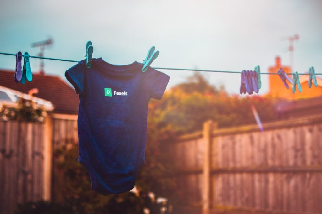 baby clothes blurred background clothesline