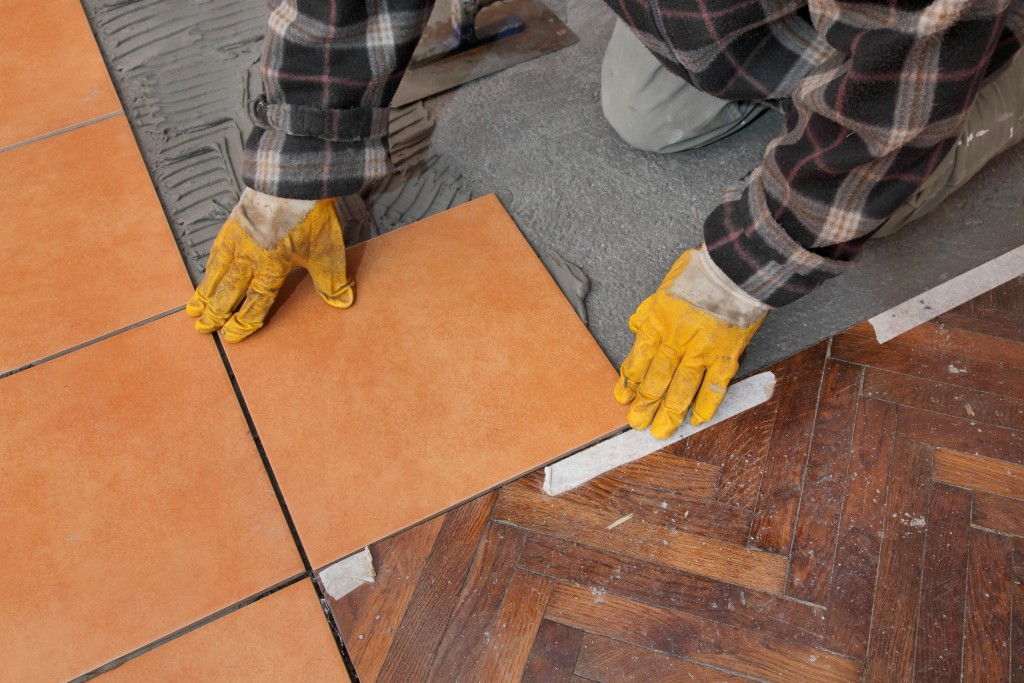 fixing the floor tiles