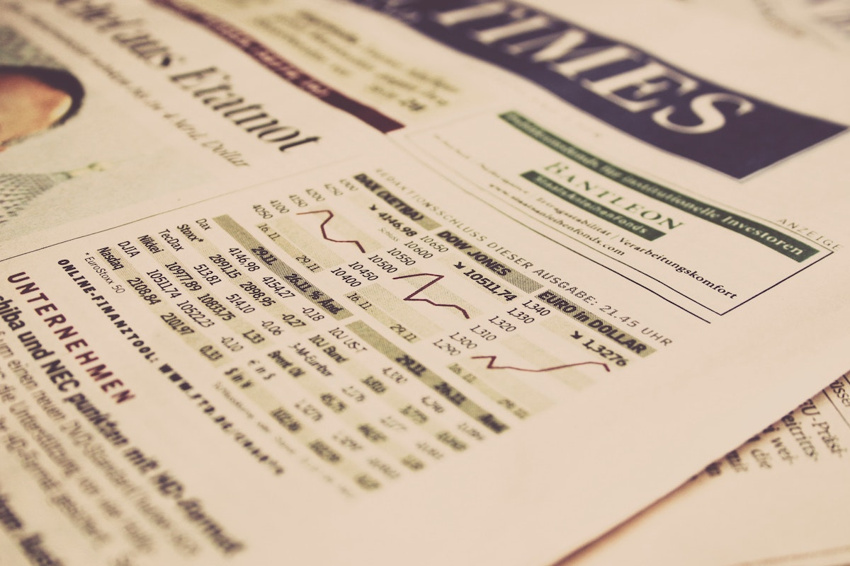 economic graph on newspaper