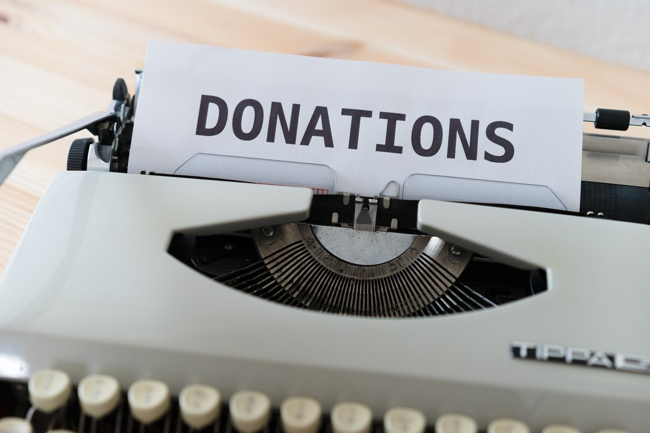 donation text on a paper