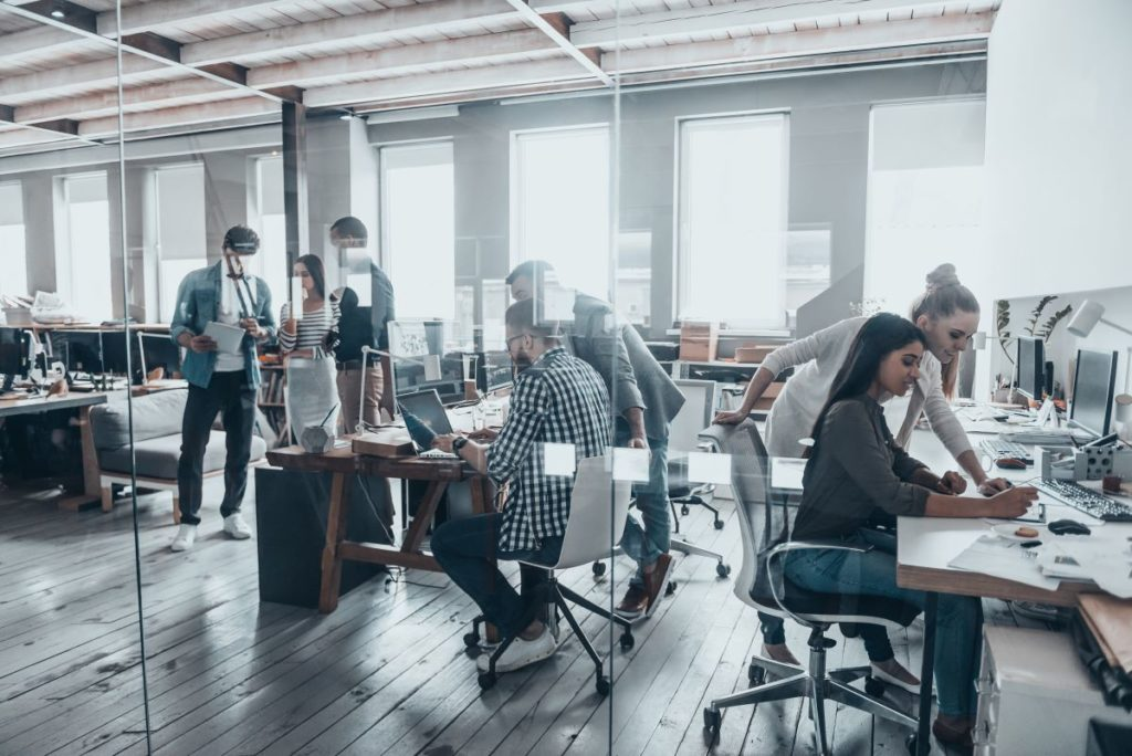 employees busy working in the office